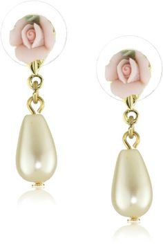 1928 Jewelry Porcelain Rose Pearl Drop Earrings - 1928, Drop, Earrings., Jewelry, Pearl, Porcelain, Rose http://designerjewelrygalleria.com/1928-jewelry/1928-earrings/1928-jewelry-porcelain-rose-pearl-drop-earrings/