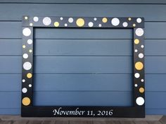 Wedding Photobooth, Anniversary Photo booth, Wood Frame Prop, Photobooth Frame Prop, Black Frame with Silver Glitter, Gold and White Floating Circles
