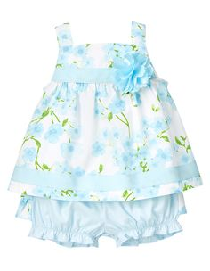 So sweet for spring celebrations. Our special occasion two-piece set features an allover blossom print accented with grosgrain ribbon and a corsage on the bodice. Playful printed ruffles in back accent the coordinating bloomer. 100% brushed cotton poplin. For sizes 0-3 to 18-24 months. Two-piece set. Back snaps for easy dressing. Easy pull-on style bottom. Machine washable. Imported. Collection Name: Spring Celebration.