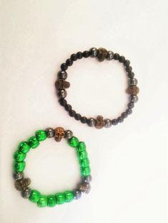 Gothic Beaded skull bracelet by blackjadecrafts on Etsy