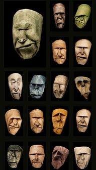 Cardboard tube faces.
