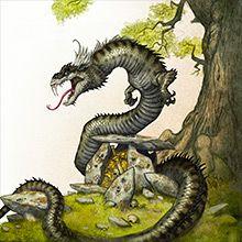 Lindorm/aarteenvartijakäärme on läheistä sukua lohikäärmeelle ja sillä on vaalea, kruunua muistuttava harja. Se ei syökse tulta eikä lennä. Se voi sylkeä syövyttävää happoa. Sen lihaa syömällä ihminen voi saada taikavoimia: kyvyn nähdä tulevaisuuteen, parantaa sairauksia tai puhua lintujen ja eläinten kanssa. Käärmettä voi pitää myös vangittuna, se luo säännöllisesti nahkansa ja siinä on taikavoimia myös. Käärme asuu vanhan tammen alla, joka pysyy vihreänä talvisinkin.