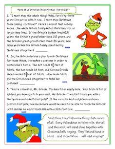 Grinch Stole Christmas Movie/Book Holiday Math Concept Review