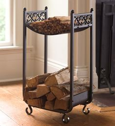 Pretty, space-saving way to store firewood and kindling next to the fireplace.