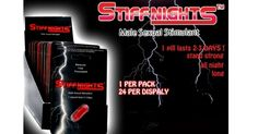 Stiff Nights is all natural and herbal nutritional supplement which is designed to increase sex drive, sexual libido, desire, metabolism, staying power, erection time & erection firmness. @ http://www.bestchinapills.com/wholesale-original-best-stiff-nights-2-pills-male-sex-capsules-48-pills.html