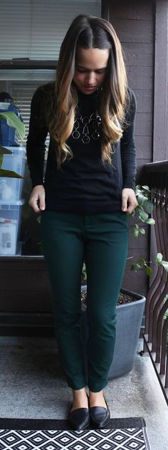 Jules in Flats - Forest Green Pixie Pants, H&M Black Statement Necklace