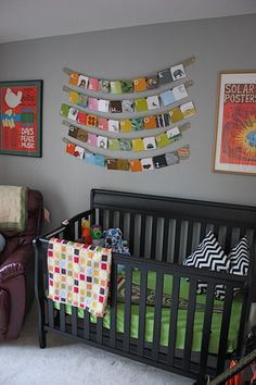 poster on far left. got the t-shirt for christmas... now I want the print! how funny/cute is it that this is a nursery for a boy named Soul Ryder? with a name like that, you have to be a cool dude.