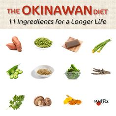 The Okinawan diet: In this infographic, discover 11 ingredients found in the diets of the people of Okinawa, many of whom live well into their hundreds.