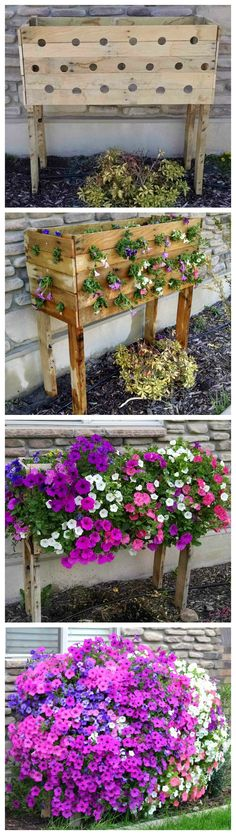 Flower Garden How to Build a Cascading Flower Pallet Planter Box ~ Pallet Planter Box For Cascading Flowers - Dreaming of an amazing full flower box to adorn my plain window. Planter Box Plans, Pallet Planter Box, Planter Boxes, Garden Pallet, Planter Ideas, Pallet Fence, Diy Pallet, Cascading Flowers, Diy Planters
