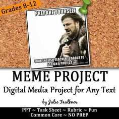 The purpose of the task is for students to demonstrate their knowledge AND understanding of the literary text. This project does require a little more of students than making a meme just for the sake of doing so.  It is more about students showcasing a full interpretation of the text in depth.