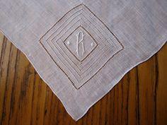 Monogrammed Vintage Handkerchief R Monogrammed by BeautifulPurpose