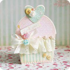 Lea Lawson created this yummy cupcake card.  Love the feminine details!