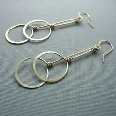 Two Circles Long Dangling Sterling Silver by winsomecreations,