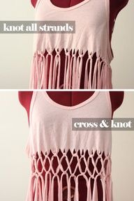 DIY Macram Tank Top. Thinking about doing this with a big oversized T-shirt and making it into a cover up for the beach