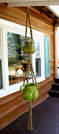 Victorian- Double Macrame Plant Hanger ONLY! 96'' Twist Design. Made With Jute & Green and Yellow Beads!