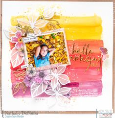 Scrapbook Layout created for Scrapbook Nerd - HELLO AMAZING FALL - Hi there! Nathalie with you today to bring you a new project ins. Scrapbook Sketches, Scrapbook Page Layouts, My Scrapbook, Scrapbook Paper Crafts, Scrapbook Designs, Crate Paper, Studio Calico, Drake, Mixed Media Scrapbooking