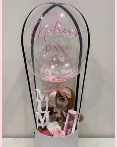 Welcome to our 2020 Mother's Day collection😁 We have partnered with talented and special who produce AMAZING PRODUCTS!   Without further ado - here is what's on offer with our signature for your special  Simply MUM package (hot air balloon gift): Mothers Day Balloons, Happy Balloons, Clear Balloons, Bubble Balloons, Bubbles, Balloon Box, Balloon Gift, Hot Air Balloon, Personalized Balloons