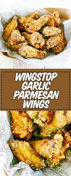 Wingstop Garlic Parmesan Wings Recipe and Video Make the famous Wingstop Garlic Parmesan Wings at home with this easy copycat recipe and video. Learn the secret to keeping the parmesan coating flaky instead of melting. Garlic Parmesan Wing Sauce, Baked Garlic Parmesan Chicken, Baked Chicken Wings, Chicken Wing Recipes, Garlic Parmesean Wings, Recipe For Parmesan Chicken Wings, Baked Wings Recipe, Garlic Wings, Gourmet