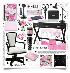 """""""Rose & Black Office Decor"""" by hmb213 ❤ liked on Polyvore featuring interior, interiors, interior design, home, home decor, interior decorating, Threshold, Uttermost, Home Decorators Collection and Byredo"""