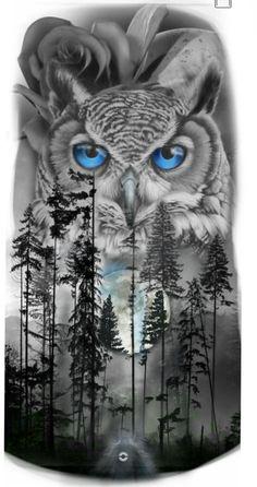 Forest Tattoo Sleeve, Animal Sleeve Tattoo, Nature Tattoo Sleeve, Forest Tattoos, Wolf Tattoo Forearm, Wolf Tattoos, Animal Tattoos, Body Art Tattoos, Owl Tattoo Design