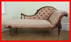 Antique Walnut Victorian Chaise Longue Couch Settee Sofa Furniture Not Mahogany