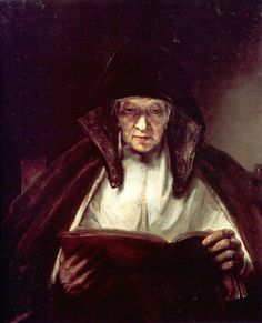 AN OLD WOMAN READING by Rembrandt van Rijn