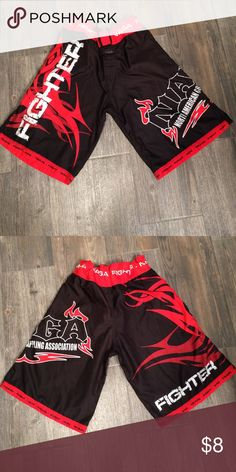 Boys Grappling Shorts Black and red NAGA Fighter grappling shorts.  Velcro and drawstring fly. Use for wrestling, grappling, boxing, MMA, Jiu Jitsu Bottoms Shorts