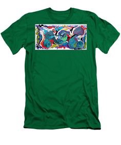 Fun Colorful Contemporary Distinctive Vibrant Playful Dramatic Abstract Red Blue Green White Men's T-Shirt (Athletic Fit) featuring the painting #1478 Dragons Eggs by Expressionistart studio Priscilla Batzell