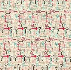 Bo Bunny - Love Letters Collection - 12x12 Double Sided Paper - Keys
