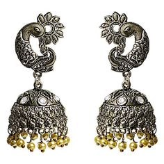 b5188d20d Traditional Antique finish oxidized German Silver plated tokri jhumki Pearl  kundan earrings for women