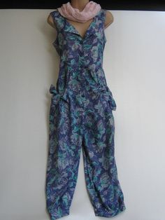 LAURA ASHLEY Vintage Lilac Clematis Summer Dungarees