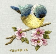 Digital Download:  Vintage Blue Tit & Apple by TRISHBURREMBROIDERY