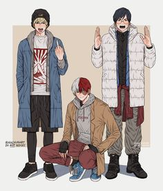 "nachurart: "" Winter fashion trio!!! Everyone's favorite model boys!! I'm a sucker for black leggings and shorts!! [Do not repost / edit / redistribute / etc] """