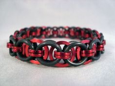 Red Square Wire Stretchy Chainmail Bracelet (Helm Weave) on Etsy, $10.00