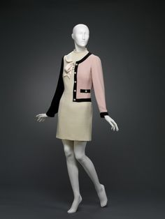 1996, Italy - Half Suit Dress by Franco Moschino - Wool, rayon, metal, plastic