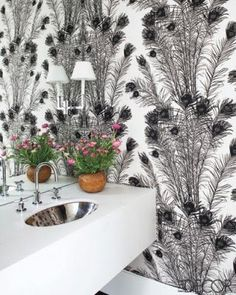 Florence Broadhurst wallpaper used in Megan Mullally's Hollywood home - ELLE DECOR. Decor, Peacock Wallpaper, Feather Wallpaper, Wallpaper, Eclectic Bathroom, Print Wallpaper, Toilet Design, Elle Decor, Home Wallpaper