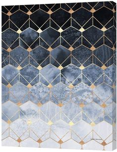 Curioos Blue hexagons and diamonds (Canvas)