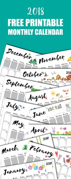 This cute and free monthly 2018 Printable Calendar is the perfect size to hang on a bulletin board & keep track of appointments or school activities. #calendar #2018 #printable #planner