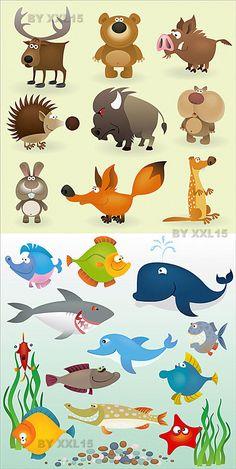 Забавные мультяшные животные и рыбы в векторе | Cartoon vector animals and fishes