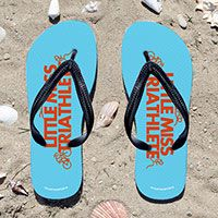 Triathlon Little Miss Triathlete Flip Flops - Kick back after a triathlon with these great flip flops! Fun and functional flip flops for all triathletes.