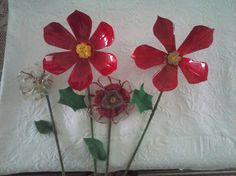 Botellas pet transformadas en flores