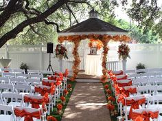 Gazebo decorated for an outdoor wedding ceremony at Jupiter Gardens in Dallas. They have a 5,000 square foot indoor venue for wedding receptions. Dallas outdoor wedding venues