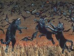 Halloween Watercolor Print Cat Batting 8 x Halloween Cat, Vintage Halloween, Whimsical Halloween, Fantasy Kunst, Fantasy Art, Arte Obscura, Psy Art, Tribute, Objet D'art