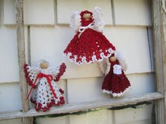 Handmade Angels Crocheted Clothespin Angels Ornaments Set of 3 Crochet