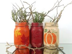 Fall Centerpieces Painted Mason Jars Autumn Decor by curiouscarrie