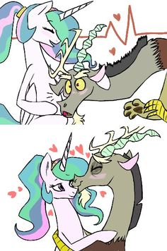 So cute. Discord listening to Celestia and his baby.