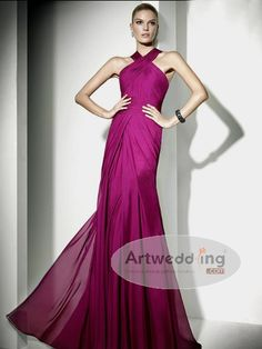 Cross Straps Pleated Chiffon Evening Dress