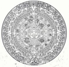 Here's a transparent Aztec Calendar because we all could use one on our pages Aquí ay une calendario Azteca para sus paginas! Aztec Tattoo Designs, Aztec Designs, Aztec Society, Arte Latina, Aztec Symbols, Aztec Names, Aztec Culture, Aztec Calendar, Islamic Art