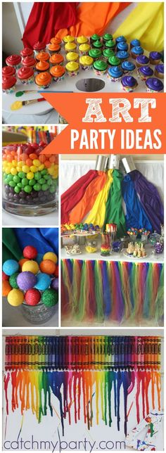 How great is this rainbow art party with lots of fun creative activities? - How great is this rainbow art party with lots of fun creative activities? See more party ideas at - Rainbow Parties, Rainbow Birthday Party, 4th Birthday Parties, Birthday Ideas, Kids Art Party, Craft Party, Painting Party Kids, Painting Parties, Art Party Activities
