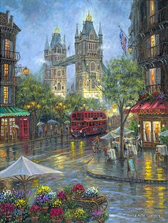 """Robert Finale Artist Signed Limited Edition Sublimation on Metal:""""Rainy Days of London - Color"""" Artist: Robert Finale Title:: Rainy Days of London - Color Size: x Edition: Artist Signed and Numbered, Limited to Certificate Of Authenticit Landscape Art, Landscape Paintings, Kinkade Paintings, London Painting, Photos Voyages, Thomas Kinkade, Cross Paintings, London Art, Beautiful Paintings"""